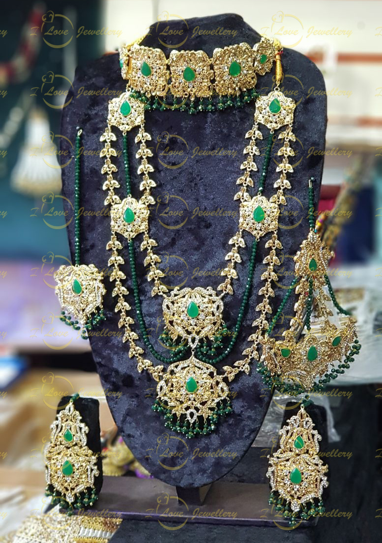 Pakistani bridal jewellery - green bridal necklace - bridal chokers - bridal mala - mehndi jewellery - Pakistani wedding jewellery - Pakistani bridal jewellery - wholesale Pakistani jewellery - bespoke Pakistani jewellery