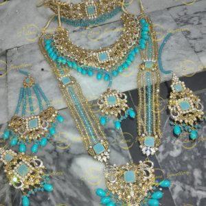 Pakistani bridal jewellery - light blue bridal necklace - bridal chokers - bridal mala - mehndi jewellery - Pakistani wedding jewellery - Pakistani bridal jewellery - wholesale Pakistani jewellery - bespoke Pakistani jewellery