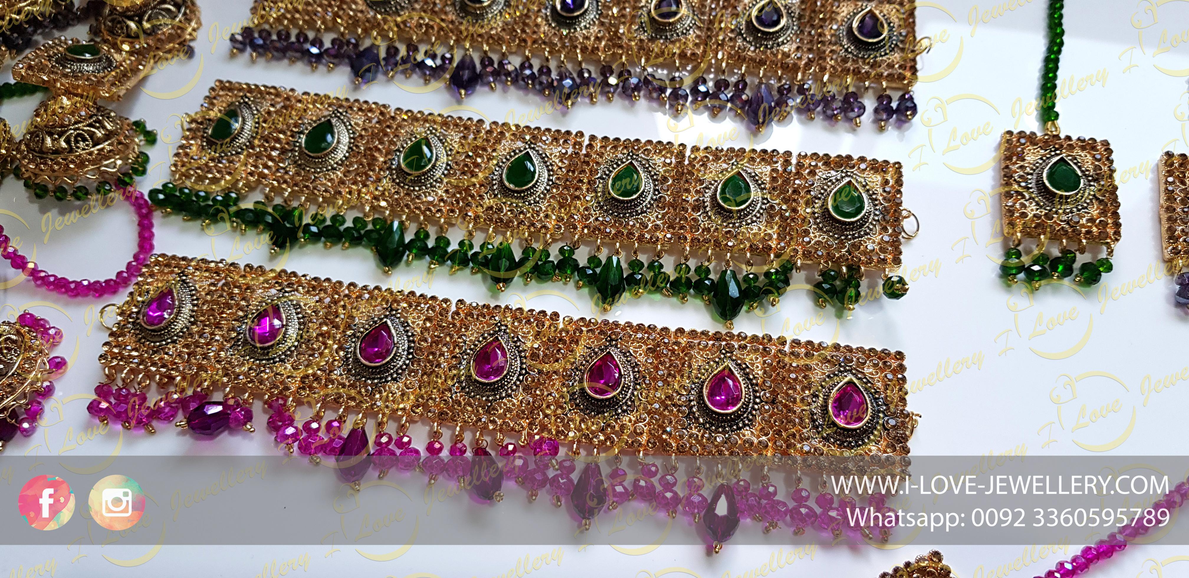 Pakistani choker - purple choker - green choker - party chokers - bridal chokers - mehndi jewellery - Pakistani wedding jewellery - Pakistani bridal jewellery - wholesale Pakistani jewellery - bespoke Pakistani jewellery