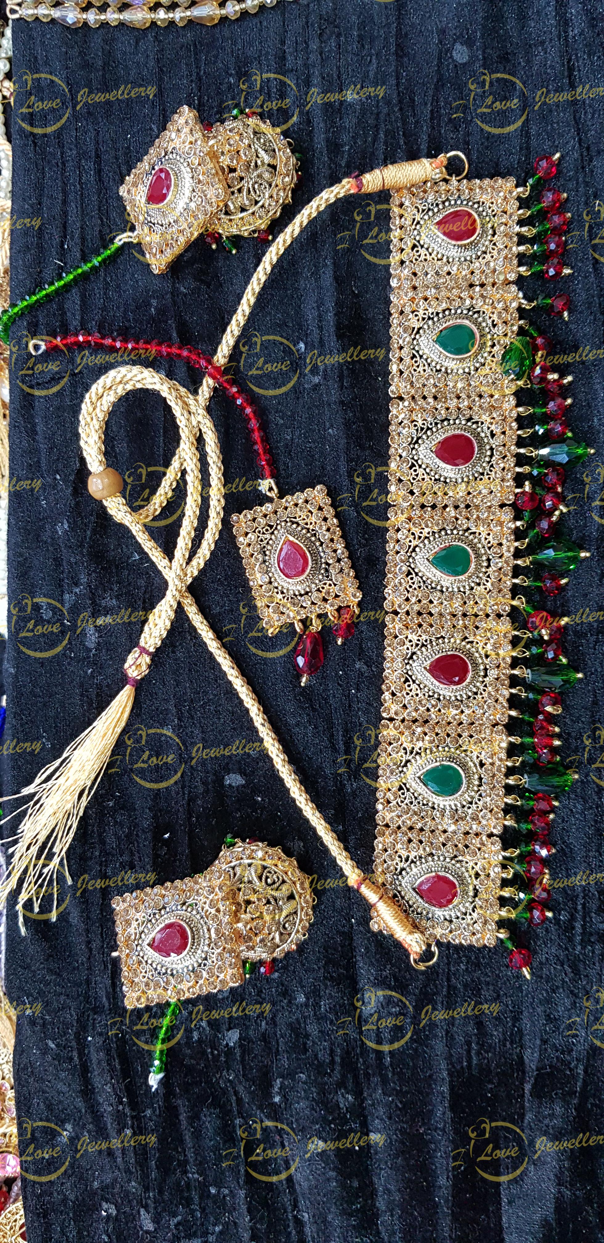 Pakistani choker - green maroon choker - bridal chokers - mehndi jewellery - Pakistani wedding jewellery - Pakistani bridal jewellery - wholesale Pakistani jewellery - bespoke Pakistani jewellery