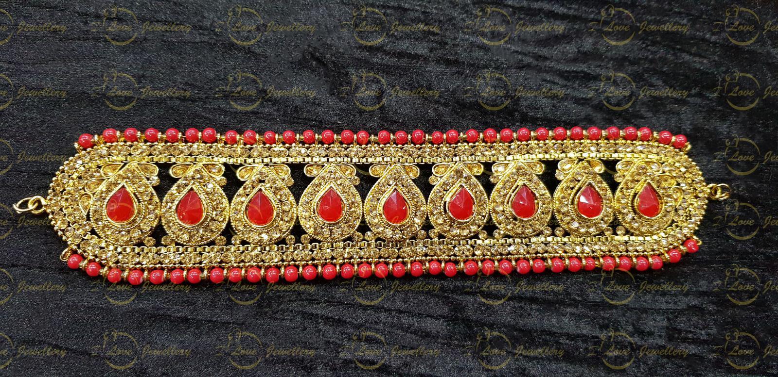 Pakistani choker - red choker - mehndi choker - bridal chokers - wedding choker necklace- golden choker - pearl choker - wholesale Pakistani jewellery - bespoke Pakistani jewellery