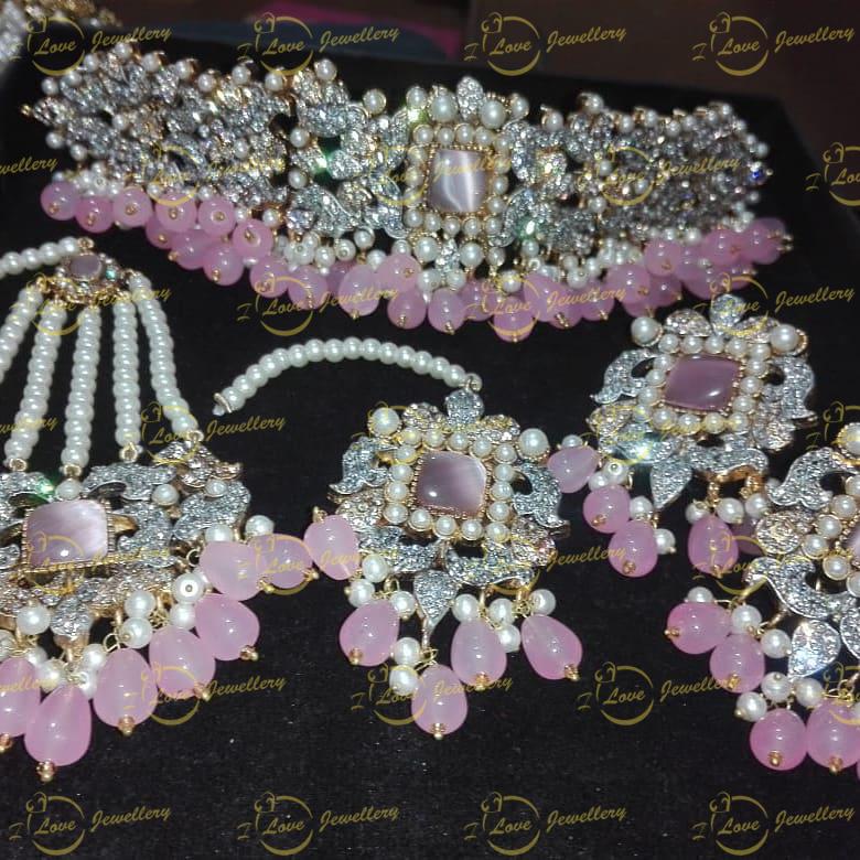 Pakistani choker - baby pink choker - mehndi choker - bridal chokers - wedding choker necklace - golden choker - pearl choker - wholesale Pakistani jewellery - bespoke Pakistani jewellery