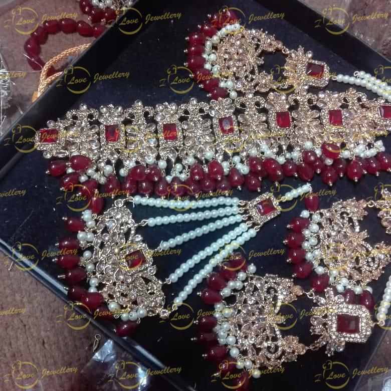Pakistani choker - maroon choker - mehndi choker - bridal chokers - wedding choker necklace- golden choker - pearl choker - wholesale Pakistani jewellery - bespoke Pakistani jewellery