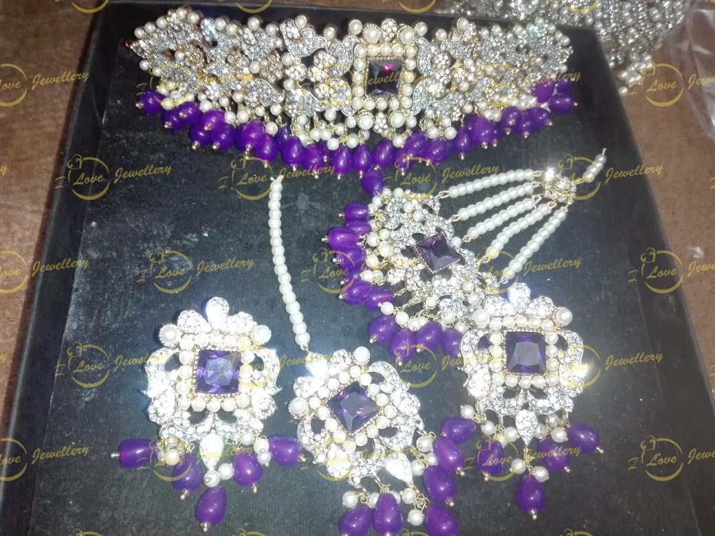 Pakistani choker - purple choker - mehndi choker - bridal chokers - wedding choker necklace- golden choker - pearl choker - wholesale Pakistani jewellery - bespoke Pakistani jewellery