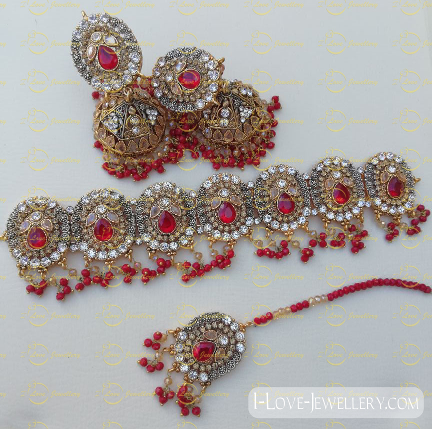 Pakistani choker - maroon choker - mehndi choker - bridal chokers - wedding choker necklace- pearl choker - wholesale Pakistani jewellery - bespoke Pakistani jewellery
