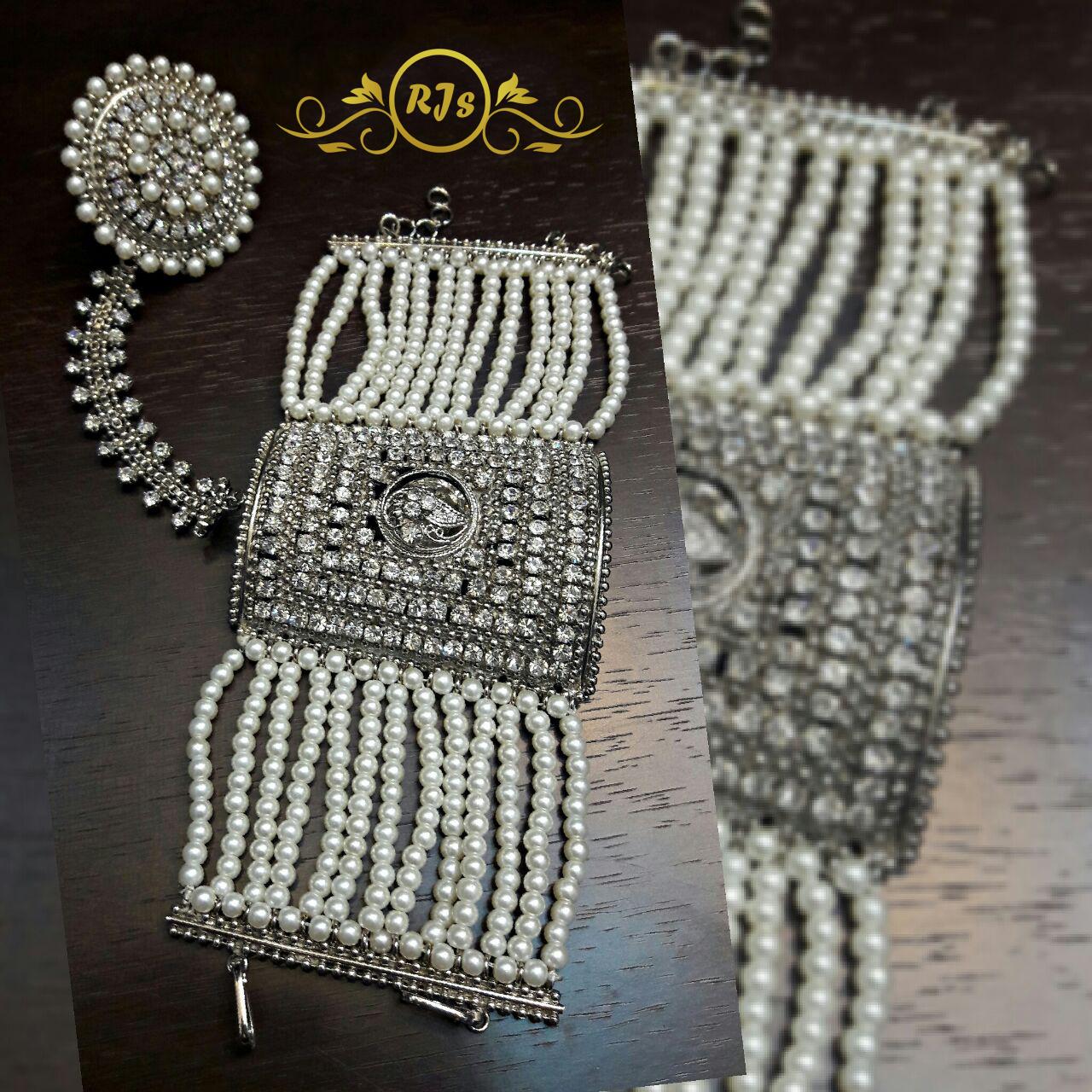 silver kalai bracelet - finger ring kalai bracelet- wholesale Pakistani jewellery - bespoke Pakistani jewellery