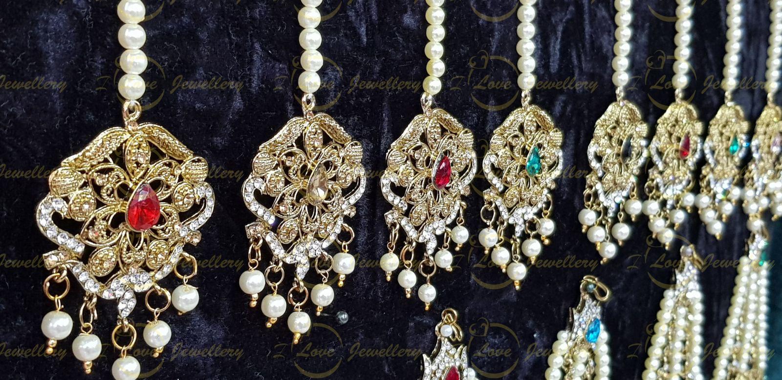 Tikkas - collection of Pakistani jhoomar tikka sets - wholesale Pakistani jewellery - bespoke Pakistani jewellery