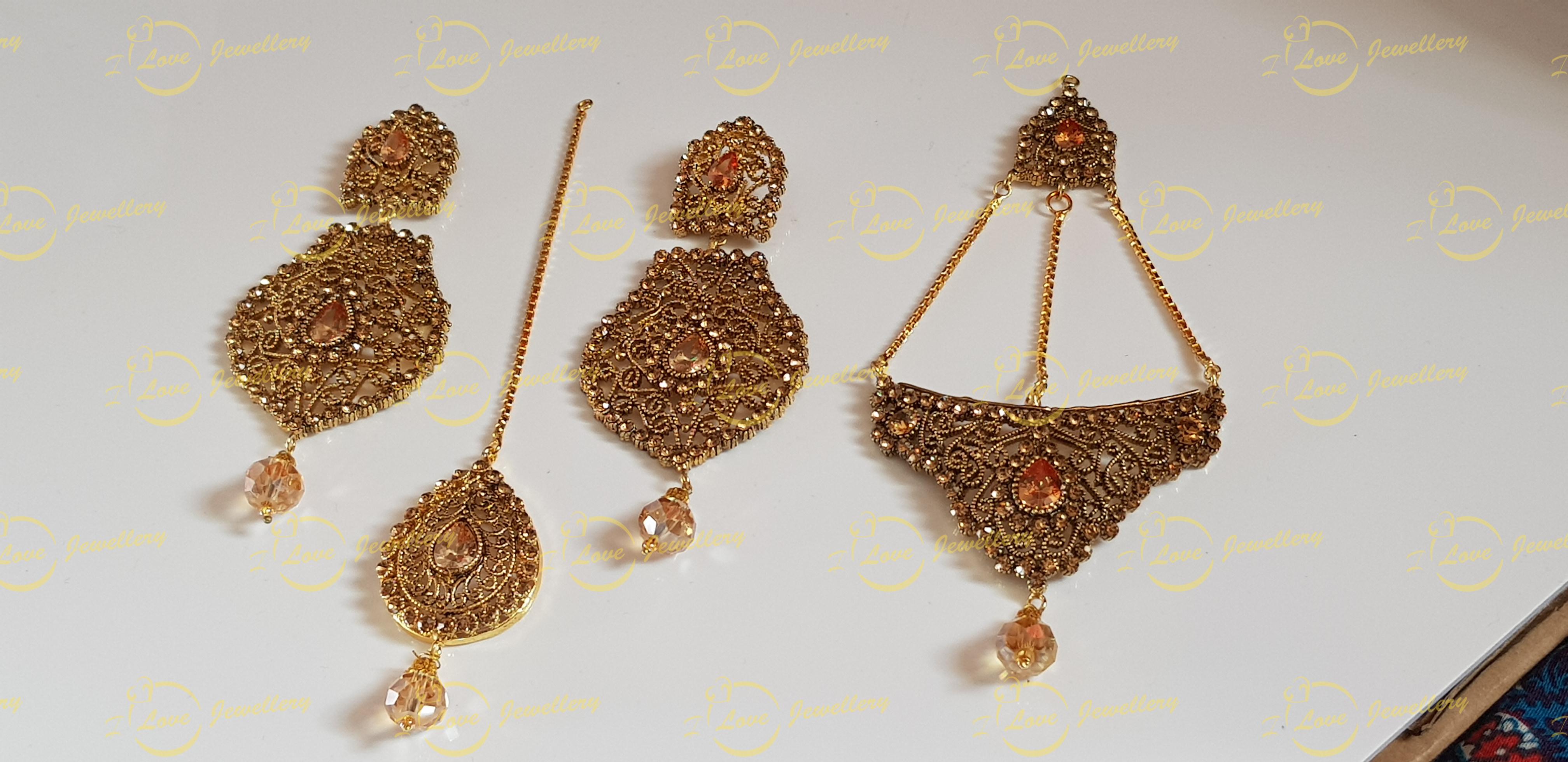 jhoomar tikka earrings set - bridal jewellery - wedding jewellery - wholesale Pakistani jewellery - bespoke Pakistani jewellery