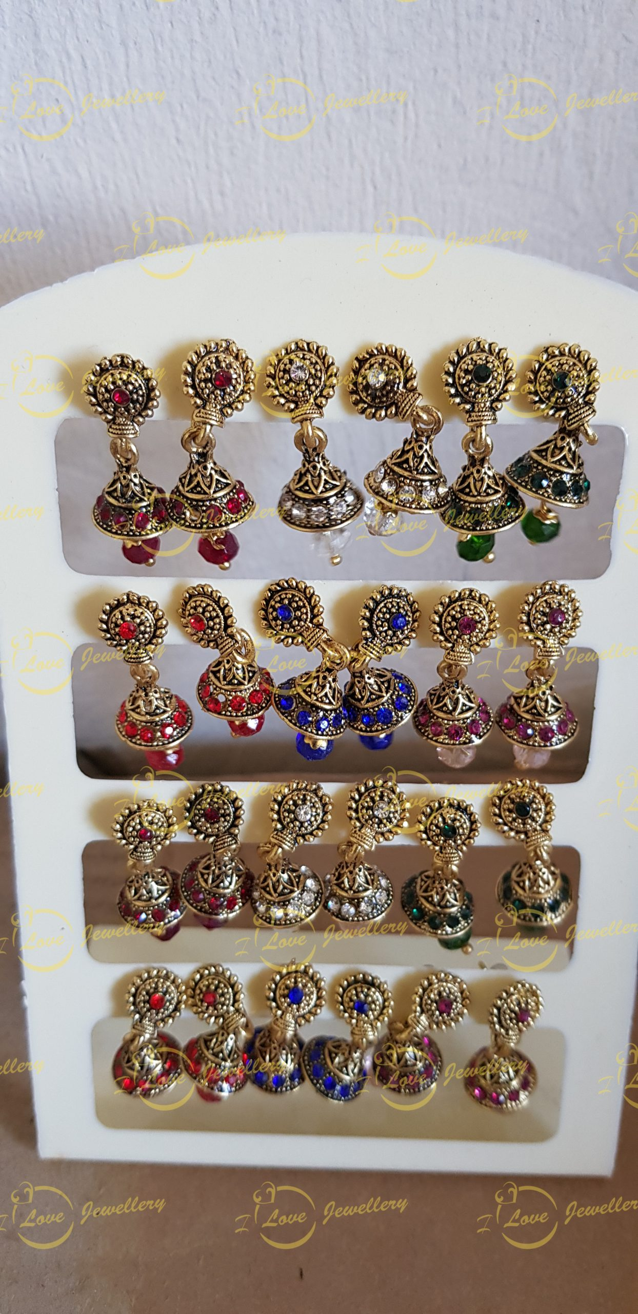 small jhumki earrings - golden jhumki earrings - wholesale Pakistani jewellery - bespoke Pakistani jewellery