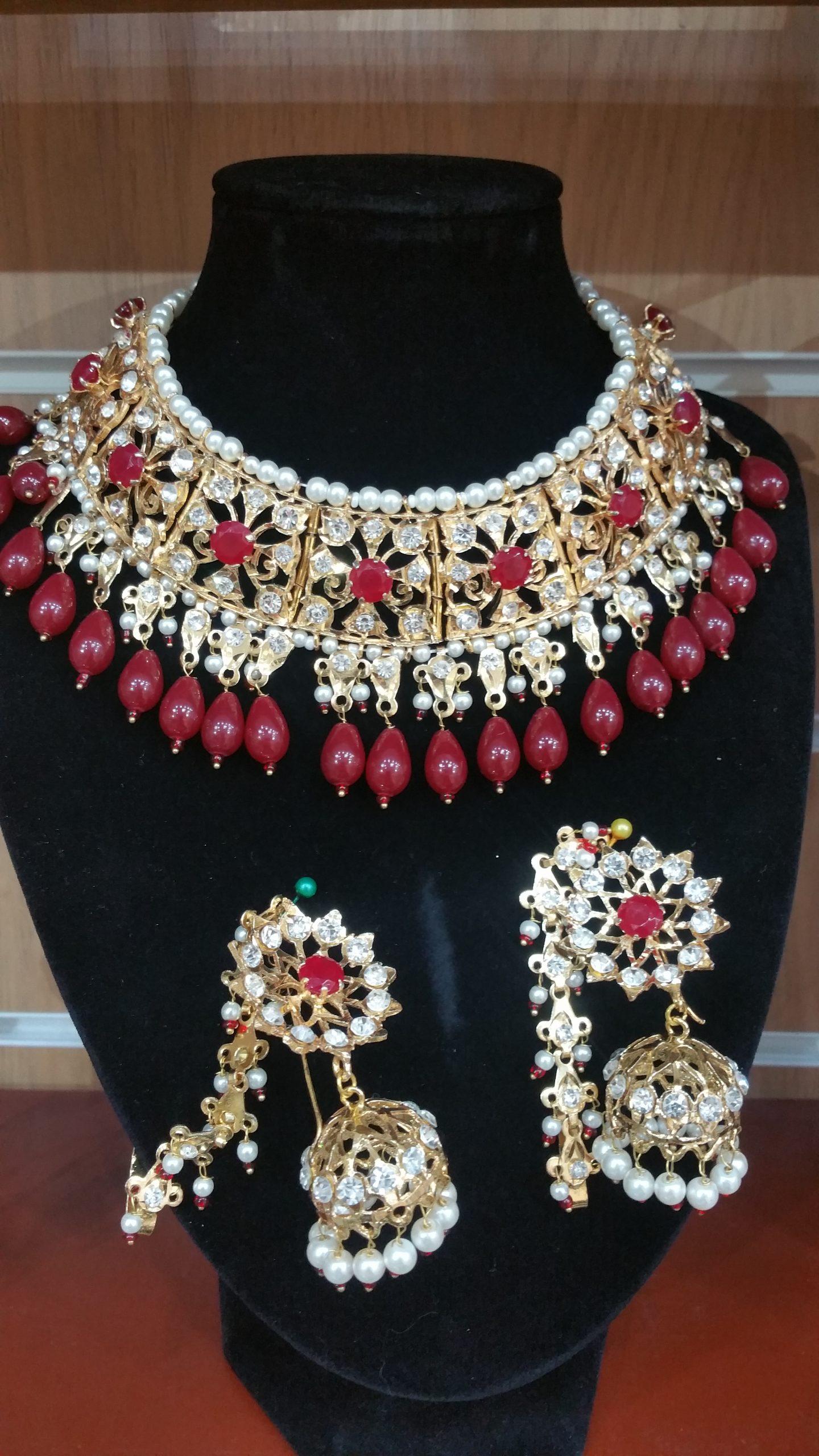 hydrabadi choker - maroon choker - wholesale Pakistani jewellery - bespoke Pakistani jewellery