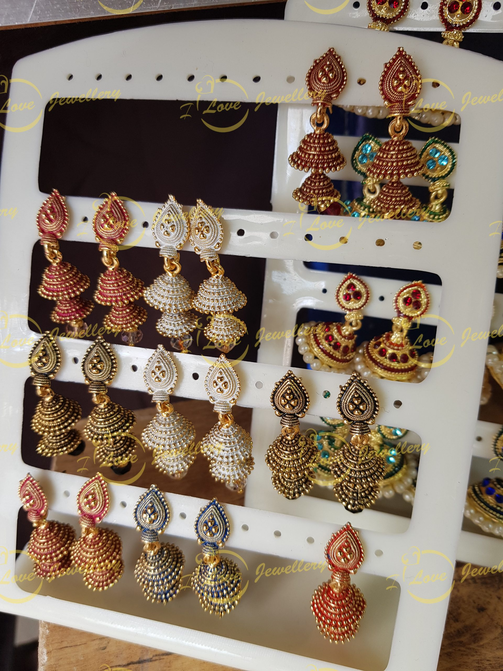 small jhumki earrings - multi jhumki earrings - wholesale Pakistani jewellery - bespoke Pakistani jewellery