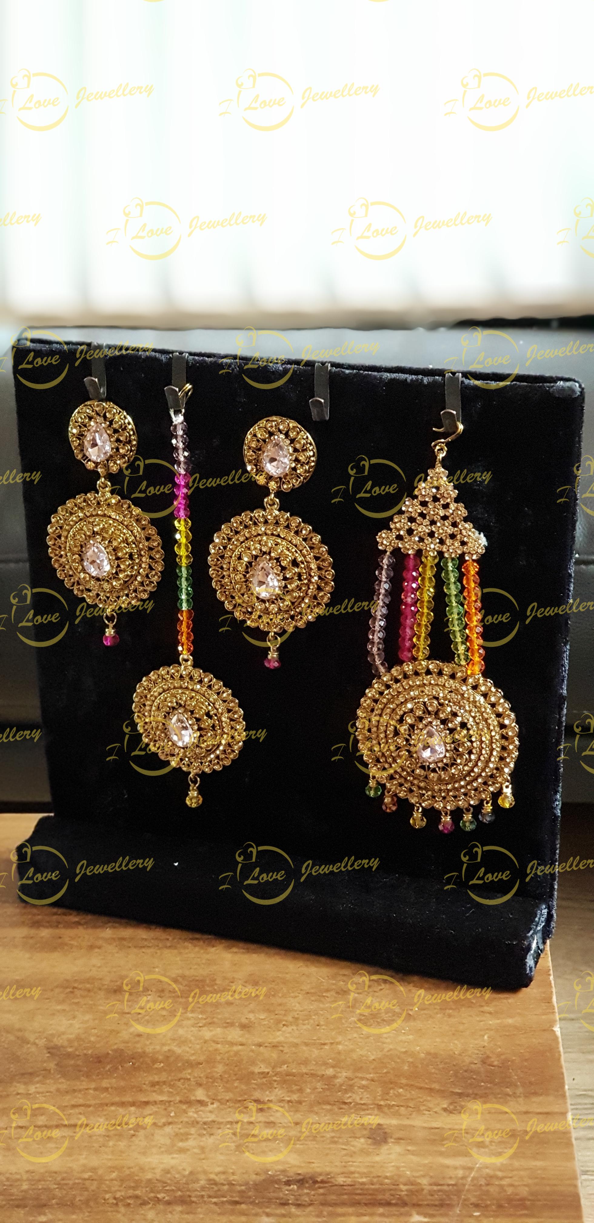 mehndi earrings tikka jhoomar set - mehndi jewellery - bridal earrings - wholesale Pakistani jewellery - bespoke Pakistani jewellery