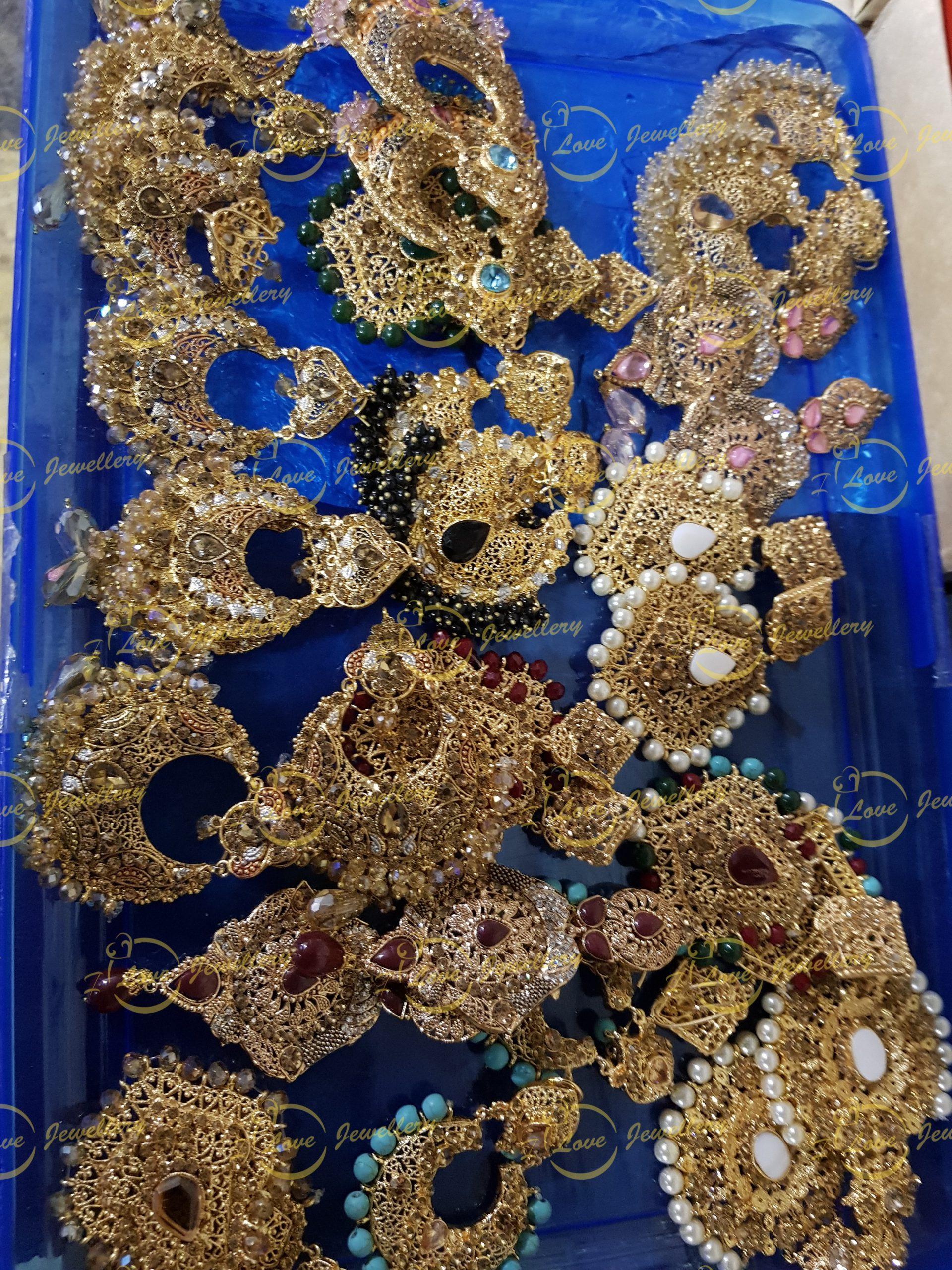 Party earrings - golden earrings - mixed earrings - bridal earrings - wedding earrings - party earrings - wholesale Pakistani jewellery - bespoke Pakistani jewellery