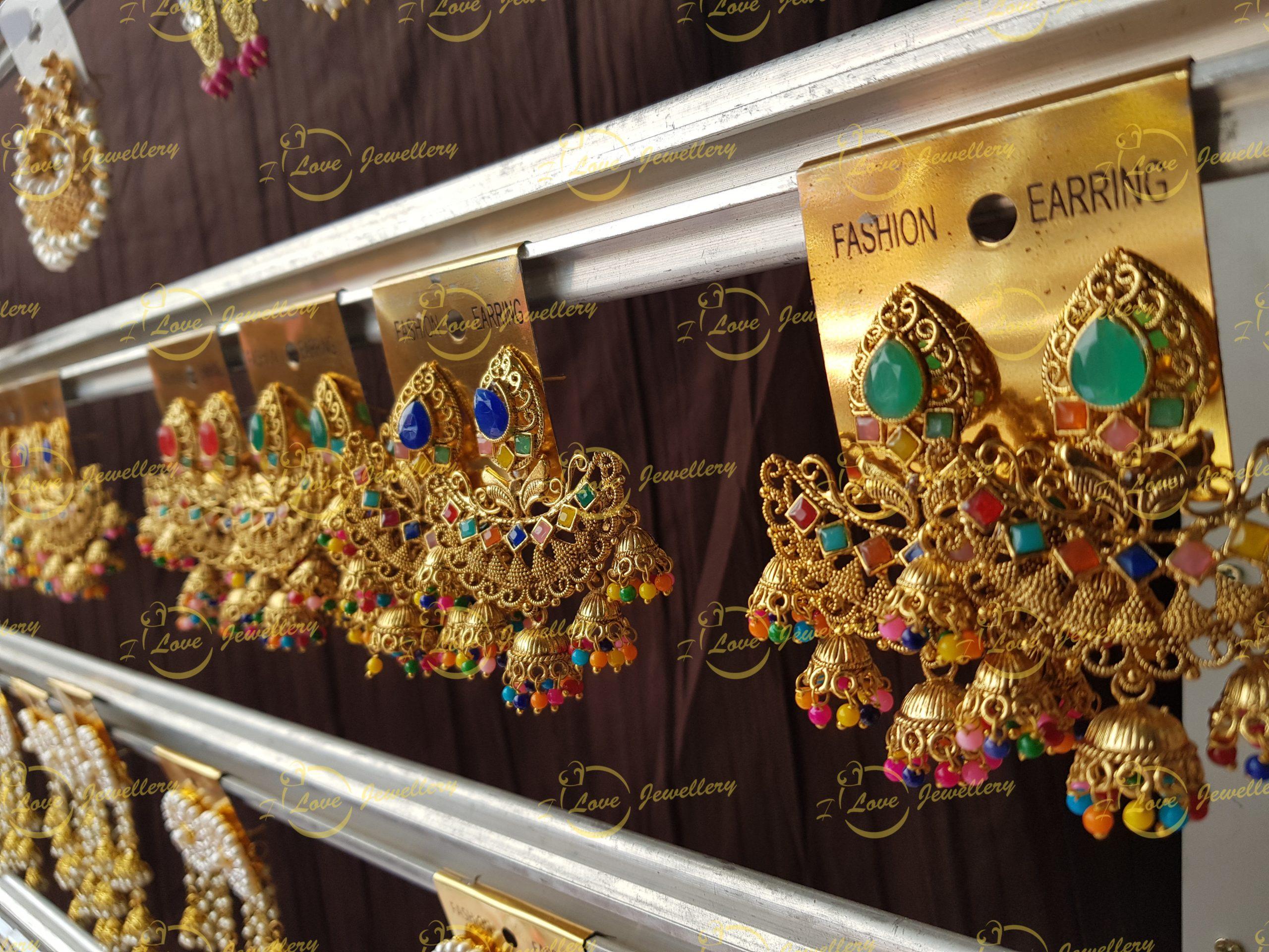 multi earrings - mehndi earrings - jhumki earrings - bridal earrings - wedding earrings - party earrings - wholesale Pakistani jewellery - bespoke Pakistani jewellery
