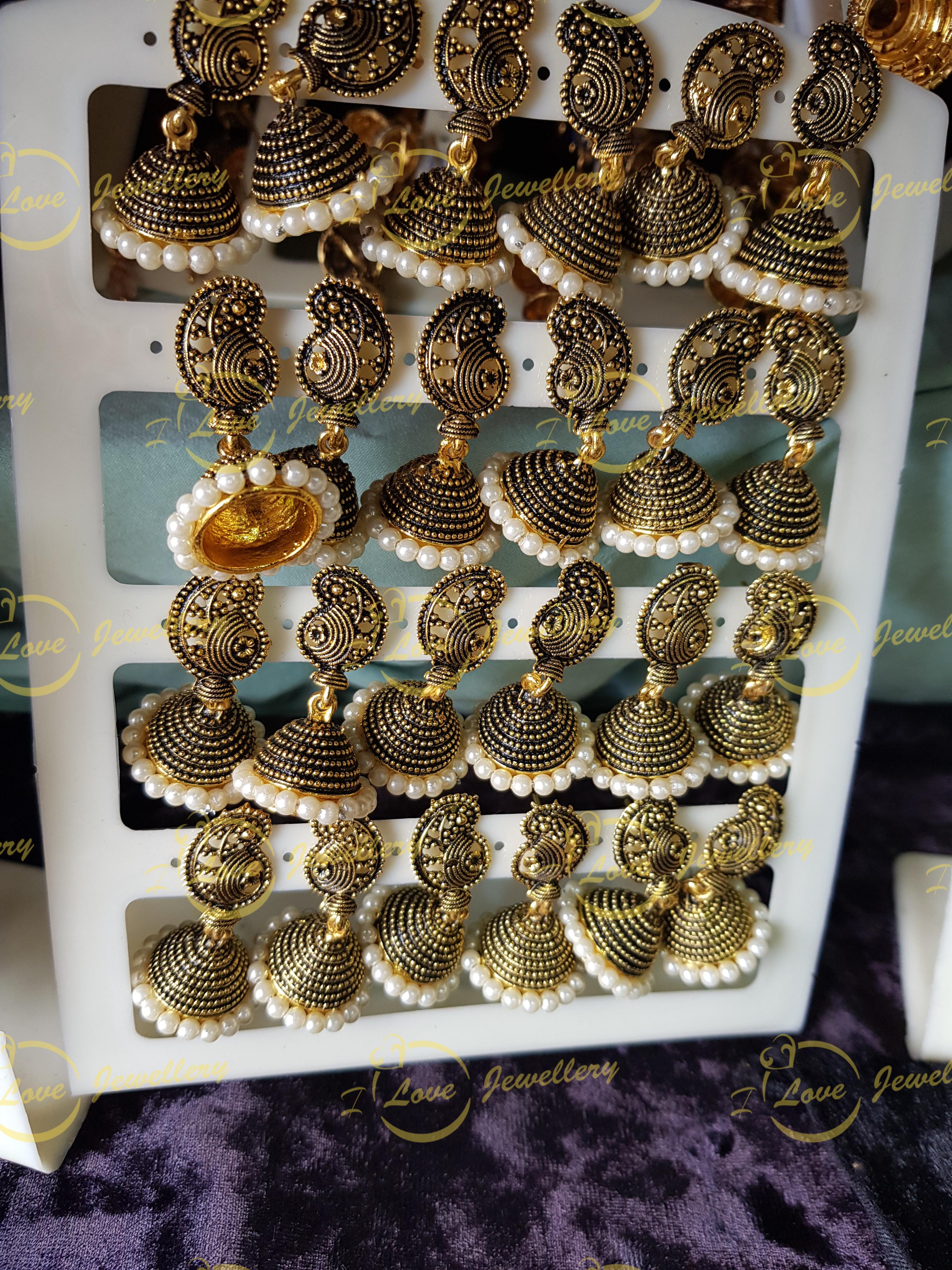 small jhumki earrings - pearl jhumki earrings - wholesale Pakistani jewellery - bespoke Pakistani jewellery