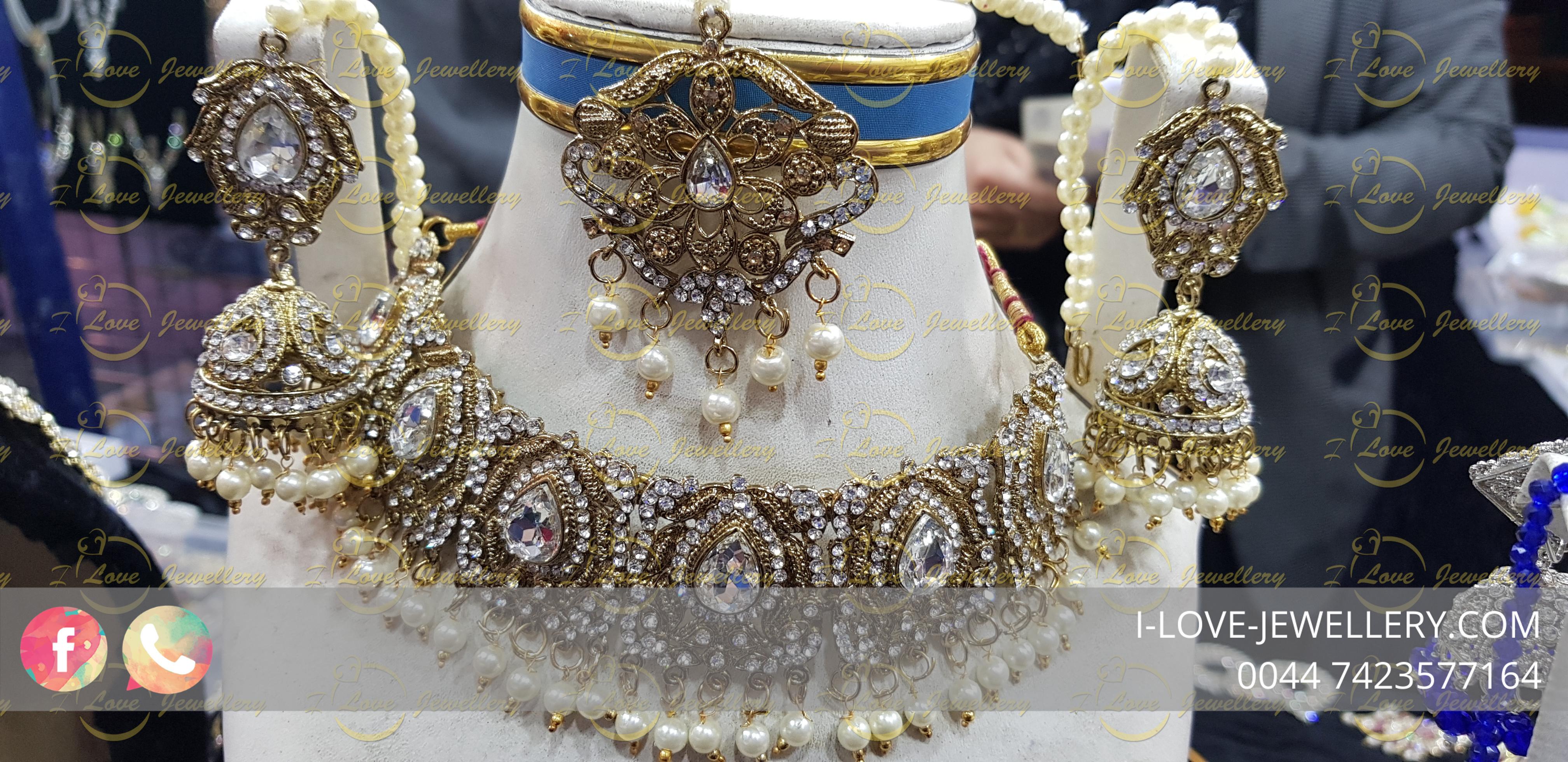 Pakistani jewellery golden choker - multi choker - pearl choker - champagne - wholesale Pakistani jewellery - bespoke Pakistani jewellery